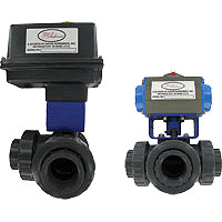 Series 3PBV Automated Ball Valve, Three-Way Plastic