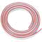 Flexible double column plastic tubing, lt. grey, with red color code stripe, 1/8