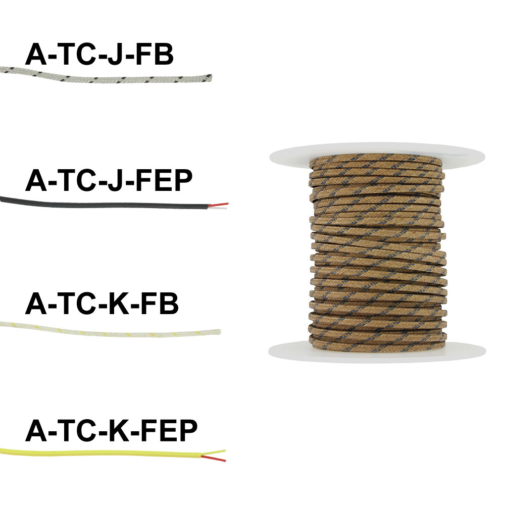 Series A-TC | Spooled Thermocouple Wire, J & K type, fiberglass or ...
